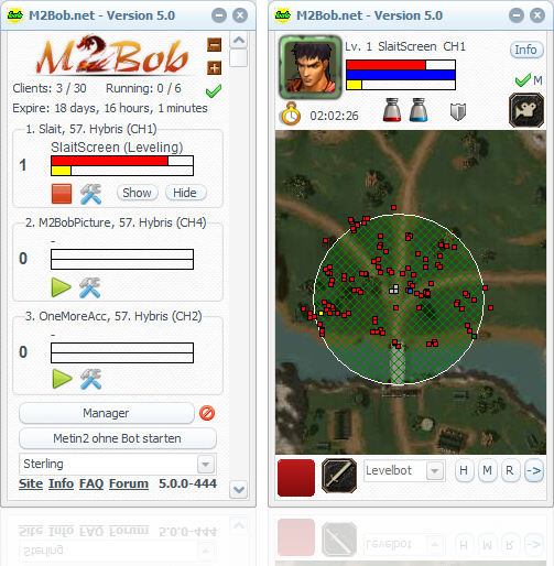 This is a Screenshot of the full Metin2 Bot called M2Bob