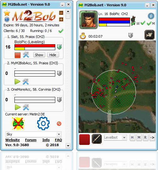 This is a screenshot of the full Metin2 program called M2Bob